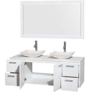 Selection wyndham collection amare 60 inch double bathroom vanity in glossy white white man made stone countertop arista white carrera marble sinks and 58 inch mirror