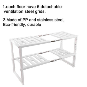 Cheap 2 tier kitchen shelf organizers rack meoket classic korean style adjustable bathroom cabinet shelf organizer stainless steel storage rack expandable under sink organizer white us stock