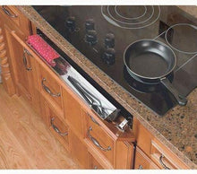 Load image into Gallery viewer, Storage organizer rev a shelf 6581 series stainless steel sink front tray 11 5 w x 2 125 d x 3 h