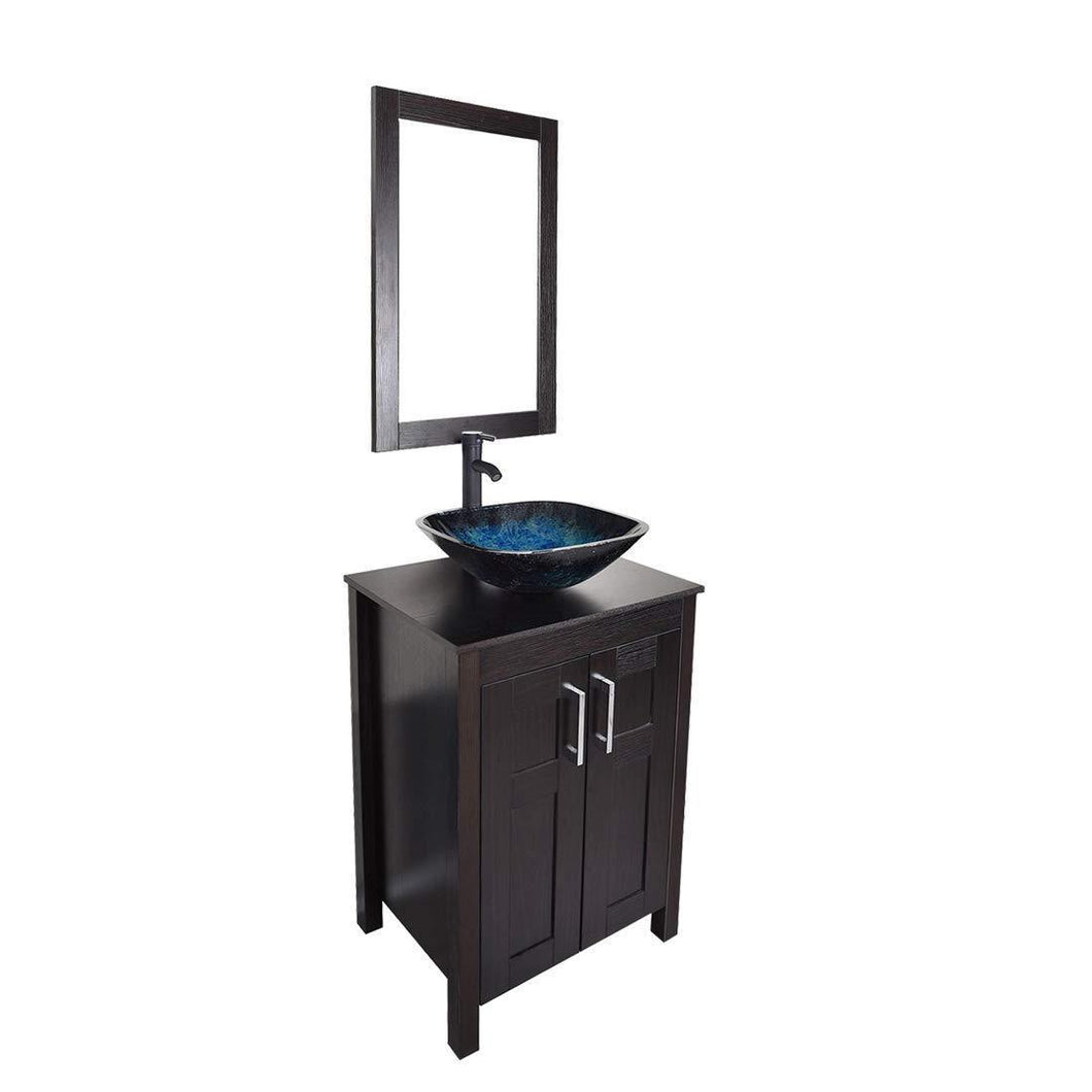 Purchase bathroom vanities 24 inch with sink freestanding eco mdf sink cabinet vanity organizers with counter top glass vessel sink vanity mirror and 1 5 gpm faucet combo vanity ocean blue sink