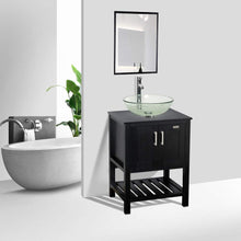 Load image into Gallery viewer, Budget friendly 24 bathroom vanity and sink combo stand cabinet mdf board cabinet tempered glass vessel sink round clear sink bowl 1 5 gpm water save chrome faucet solid brass pop up drain w mirror a16b06