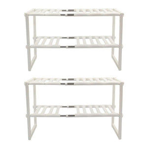 Online shopping unishopping stainless steel plastic 2 tier expandable under sink organizer shelf adjustable kitchen storage rack 15 35 26 x 10 24 x 14 96 set 2 pack