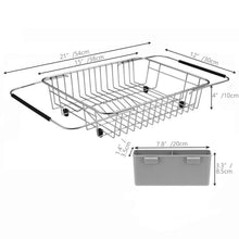 Load image into Gallery viewer, Purchase blitzlabs dish drying rack stainless steel with utensil holder adjustable handle drying basket storage organizer for kitchen over or in sink on countertop dish drainer grey