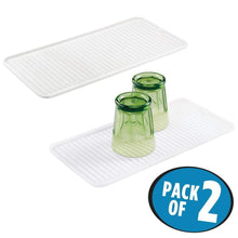 Load image into Gallery viewer, Best seller  mdesign silicone dish drying mat and protector for kitchen countertops sinks ribbed design non slip waterproof heat resistant dishwasher safe small 2 pack clear