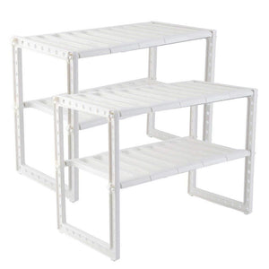 New unishopping stainless steel plastic 2 tier expandable under sink organizer shelf adjustable kitchen storage rack 15 35 26 x 10 24 x 14 96 set 2 pack