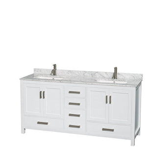 Order now wyndham collection sheffield 72 inch double bathroom vanity in white white carrera marble countertop undermount square sinks and 24 inch mirrors