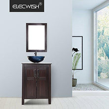 Load image into Gallery viewer, Shop for elecwish usba20090 usba20077 bathroom vanity and sink combo stand cabinet and tempered blue glass vessel sink orb faucet and pop up drain mirror mounting ring