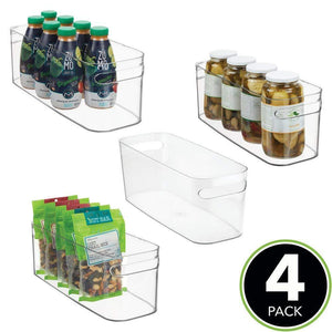 Related mdesign plastic kitchen under sink refrigerator or freezer food storage bin with handles organizer for fruit yogurt snacks pasta food safe bpa free 4 pack clear