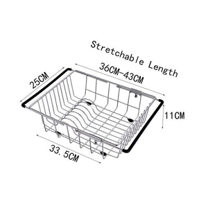 Amazon yc electronics retractable stainless steel kitchen shelf vegetables basin dish rack fruit vegetable basket drain basket kitchen sink