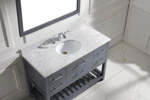Shop here virtu usa caroline estate 48 inch single sink bathroom vanity set in grey w round undermount sink italian carrara white marble countertop no faucet 1 mirror ms 2248 wmro gr