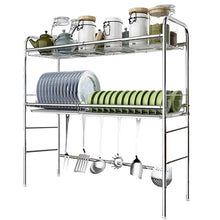 Load image into Gallery viewer, New dish rack over sink stainless steel 2 tier dish drying rack with drain board kitchen shelves free standing rack 5 size 93cm 28cm 81m