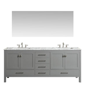 Results eviva evvn412 72gr aberdeen 72 transitional grey bathroom vanity with white carrera countertop double square sinks combination