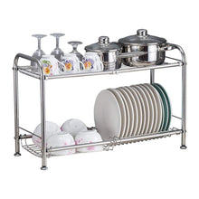 Load image into Gallery viewer, Home delite home 2 tier stainless steel over sink dish drying rack counter top dish rack dish shelf dish collector silver single groove