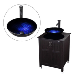 Storage modern bathroom vanity and sink combo stand cabinet with vanity mirror single mdf cabinet with blue glass vessel sink round bowl