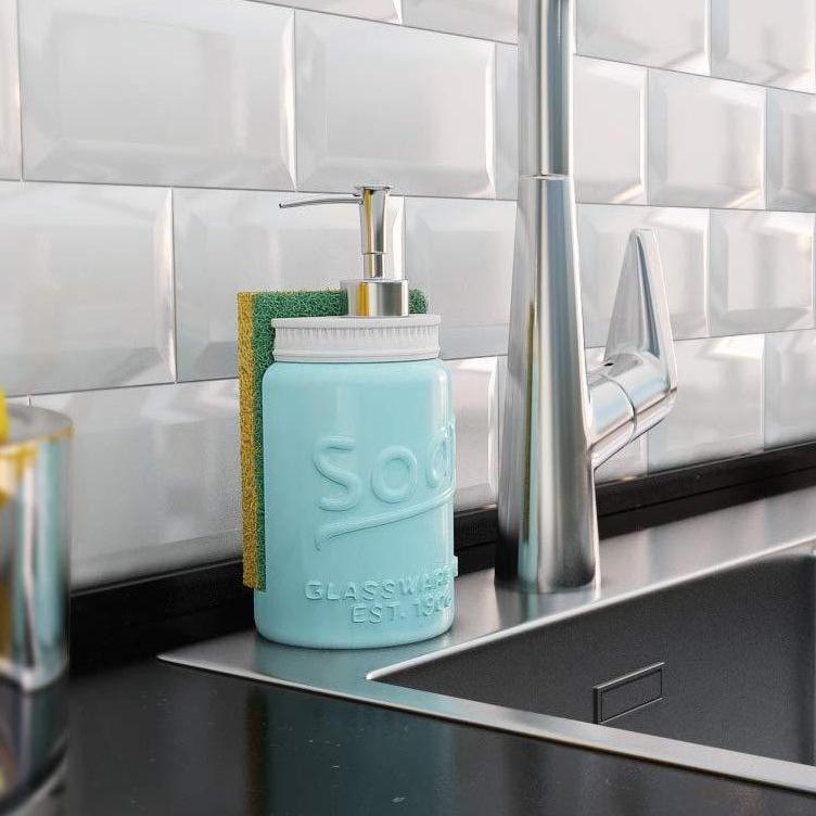Mason Jar Kitchen Soap Dispenser & Sponge Holder