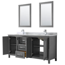 Load image into Gallery viewer, Discover the best wyndham collection daria 72 inch double bathroom vanity in dark gray white carrara marble countertop undermount square sinks and 24 inch mirrors