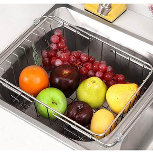 Select nice jinpai stainless steel kitchen sink rack drain basket retractable fruit and vegetable dishes storage basket drain rack