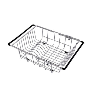Try yc electronics retractable stainless steel kitchen shelf vegetables basin dish rack fruit vegetable basket drain basket kitchen sink