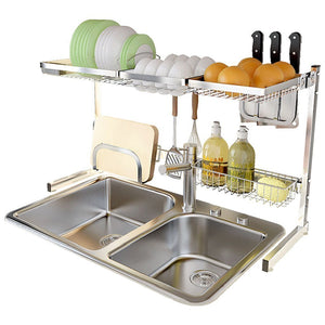 Heavy duty shelf liners kitchen shelf stainless steel dish rack sink rack kitchen homeware storage rack pool shelf dish rack storage organization color silver size 8049cm