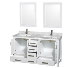 Load image into Gallery viewer, Home wyndham collection sheffield 60 inch double bathroom vanity in white white carrera marble countertop undermount square sinks and 24 inch mirrors