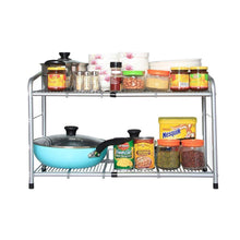 Load image into Gallery viewer, Discover the flagship 2 tiers under sink strainer stainless steel silver expandable cabinet shelf kitchen and bath multipurpose tidy organizer storage rack