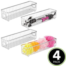 Load image into Gallery viewer, Order now mdesign metal bathroom storage organizer basket bin farmhouse grid design organization for cabinets shelves closets vanity countertops bedrooms under sink x long container 4 pack chrome