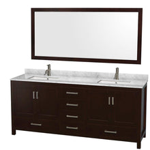 Load image into Gallery viewer, Results wyndham collection sheffield 80 inch double bathroom vanity in espresso white carrera marble countertop undermount square sinks and 70 inch mirror