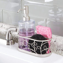 Load image into Gallery viewer, Online shopping mdesign decorative wire kitchen sink countertop pump bottle caddy liquid hand soap dispenser with storage compartment holds and stores sponges scrubbers and brushes vine design clear satin