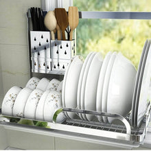 Load image into Gallery viewer, Featured shelf liners kitchen shelf stainless steel kitchen sink rack wall mount pan racks tableware drain rack basin dish rack storage rack storage organization color silver size 14040cm