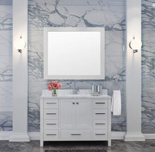 Load image into Gallery viewer, Budget ariel cambridge a043s wht 43 single sink solid wood bathroom vanity set in grey with white 1 5 carrara marble countertop