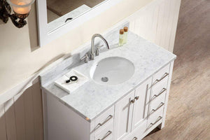 Try ariel cambridge a043s wht 43 single sink solid wood bathroom vanity set in grey with white 1 5 carrara marble countertop
