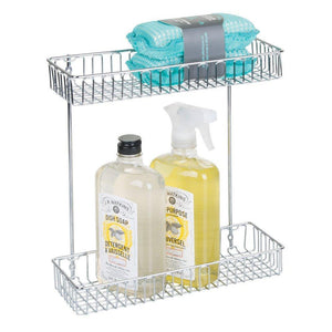 Shop interdesign classico metal 2 tier shelf under sink organizer for kitchen bathroom cabinets 16 75 x 4 25 x 13 chrome