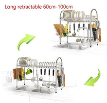 Load image into Gallery viewer, Featured mago retractable 304 stainless steel dish rack drain rack sink universal pool frame kitchen shelf multi function kitchen storage size 100cm x 28cm x 82cm