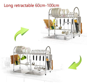 Featured mago retractable 304 stainless steel dish rack drain rack sink universal pool frame kitchen shelf multi function kitchen storage size 100cm x 28cm x 82cm