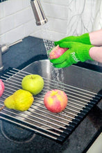 Load image into Gallery viewer, The best bundle easy to store over the sink stainless steel roll up drying rack and produce cleaning glove