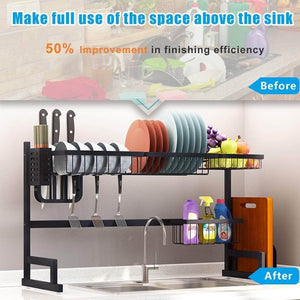 Budget fnboc over the sink dish drying rack adjustable dish drainer shelf multifunctional kitchen storage organizer with utensils holder sink size 32 5in