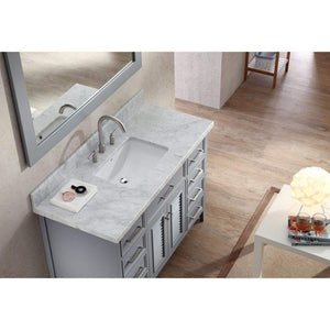 Latest ariel kensington d049s gry 49 inch solid wood single sink bathroom vanity set in grey with white carrara marble countertop
