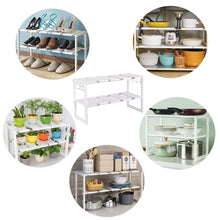 Load image into Gallery viewer, Featured kelixu under sink organizer under cabinet storage 2 tier adjustable kitchen sink organizer with stainless steel pipes and 10 removable panels multifunctional storage rack for kitchen white