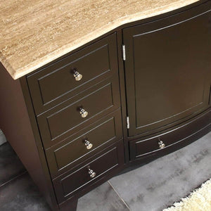 Purchase silkroad exclusive hyp 0703 t uwc 55 travertine top single white sink bathroom vanity with espresso cabinet 55 dark wood