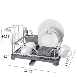 Top rated aluminum dish drying rack with expandable over sink dish rack rust proof frame cutlery holder swivel spout wine glass holder cup holder for kitchen grey 121887
