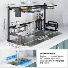 Load image into Gallery viewer, Storage organizer langria dish drying rack over sink stainless steel drainer shelf professional 2 tier utensils holder display stand for kitchen counter organization fully customizable 37 4 inches width black