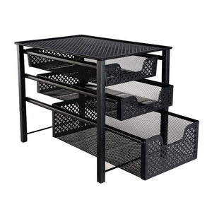 Shop for stackable 3 tier organizer baskets with mesh sliding drawers ideal cabinet countertop pantry under the sink and desktop organizer for bathroom kitchen office