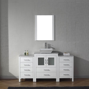 Buy virtu usa dior 60 inch single sink bathroom vanity set in white w square vessel sink italian carrara white marble countertop single hole polished chrome 1 mirror ks 70060 wm wh