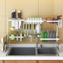 Load image into Gallery viewer, Results dish drying rack over sink drainer shelf for kitchen supplies storage counter organizer utensils holder stainless steel display kitchen space save must have sink size 33 1 2 inch silver