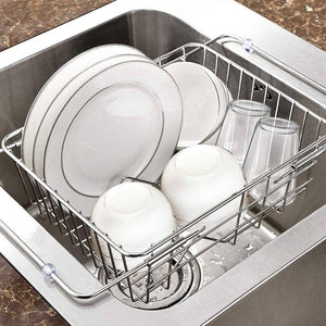 Selection chx stainless steel sink drain rack sink drain basket kitchen household drying dish storage pool rack chxsf size l39cmh25cm