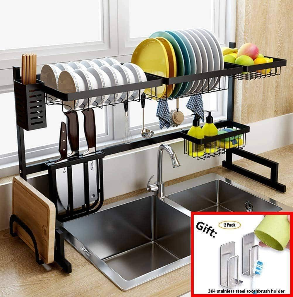 Discover the best dish drainer rack holder black stainless steel kitchen rack sink sink dish rack drain bowl rack dish rack kitchen supplies storage rack 95cm