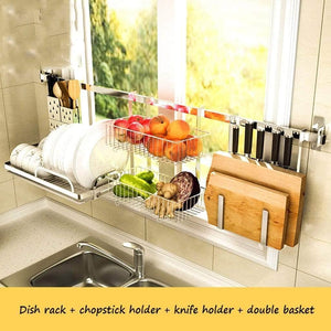 Discover the best shelf liners kitchen shelf stainless steel kitchen sink rack wall mount pan racks tableware drain rack basin dish rack storage rack storage organization color silver size 14040cm