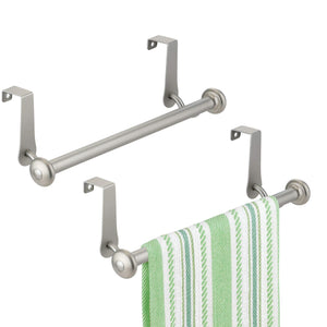 Best mdesign vintage metal decorative kitchen sink over cabinet steel metal towel bars storage and organization drying rack for hanging hand dish tea towels 10 5 wide pack of 2 satin
