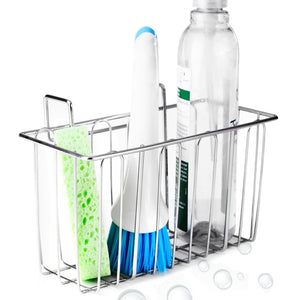 Shop here aceen kitchen sink sponge holder 304 stainless steel sink caddy organizer liquid drainer storage basket for sponge soap brush dishwashing accessories