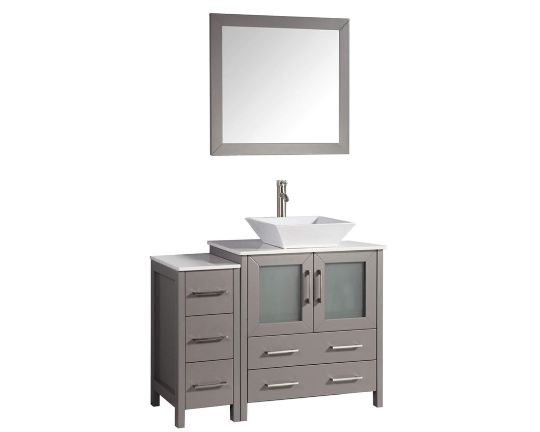 Great vanity art 42 inch single sink bathroom vanity set with compact 2 door 5 drawer slim and modern white ceramic top bathroom cabinet free mirror gray va3130 42